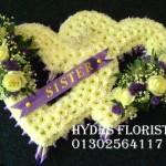 double open heart Hydes Florist Doncaster Funeral Flowers
