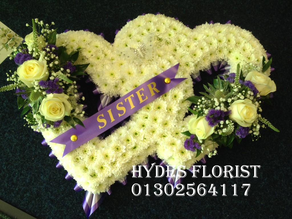 Hydes florist bespoke funeral tributes gallery double open heart hydes florist doncaster funeral flowers izmirmasajfo Image collections