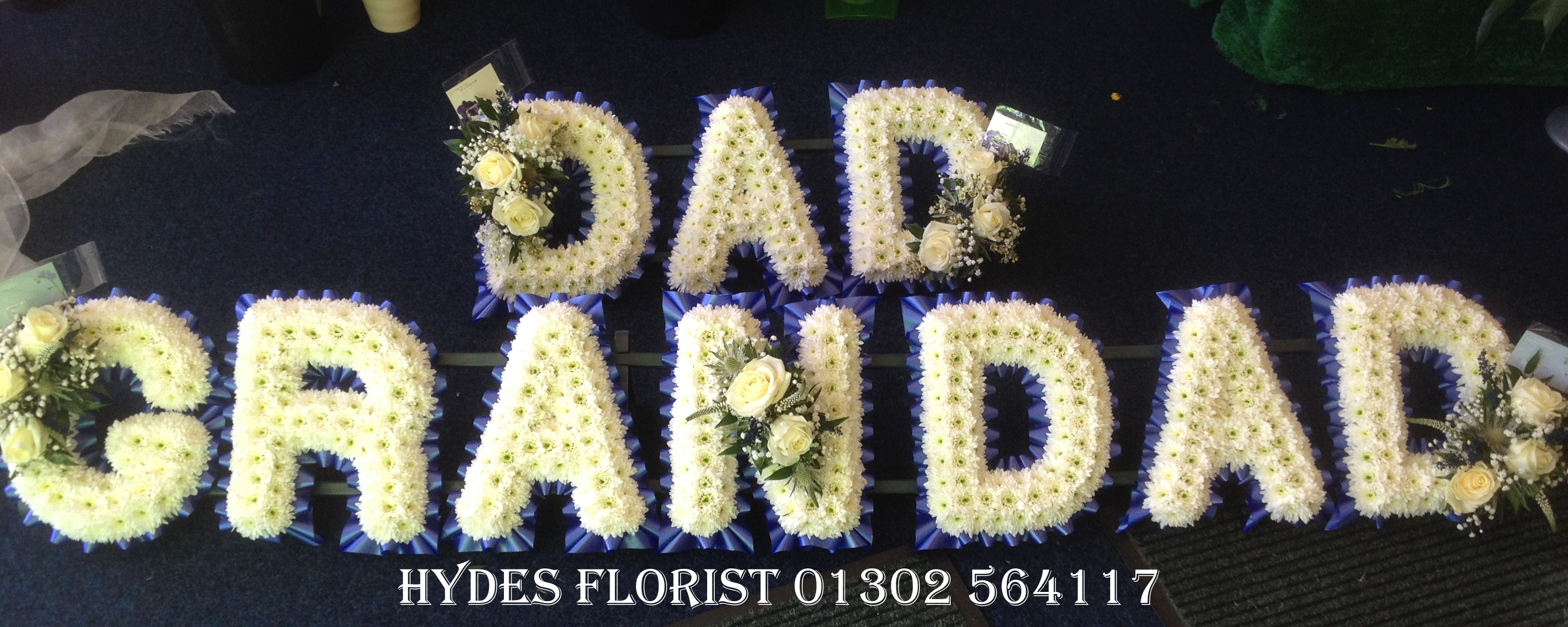 Hydes florist bespoke funeral tributes gallery funeral letters hydes florist doncaster dhlflorist Choice Image
