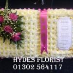 hydes florist doncaster open book funeral tribute
