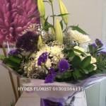 purple handtied bouquet hydes florists doncaster mothersday