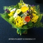 yellow handtied bouquet hydes florists doncaster mothersday