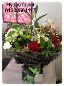 red roses aqua boxed bouquet  £45