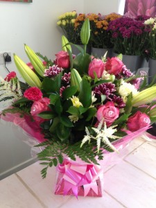 lillies and rose aqua boxed bouquet   £50