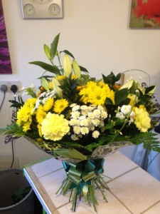 large yellow hand tied bouquet   £50