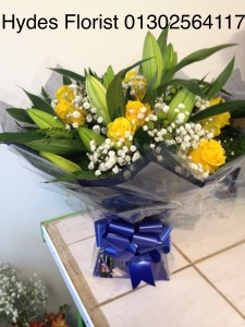 roses and lillies aqua boxed bouquet   £50
