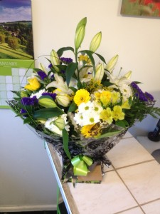 purple and lillies aqua boxed bouquet  from £30 this one £45