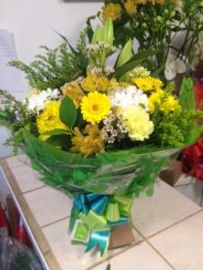 yellow aqua boxed bouquet   £30
