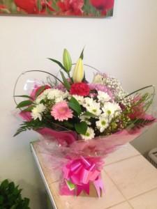 pink aqua boxed bouquet  £30