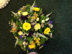 yellows and purple posy florist choice from £25