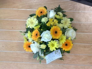 yellow  gerberas roses and posy £35